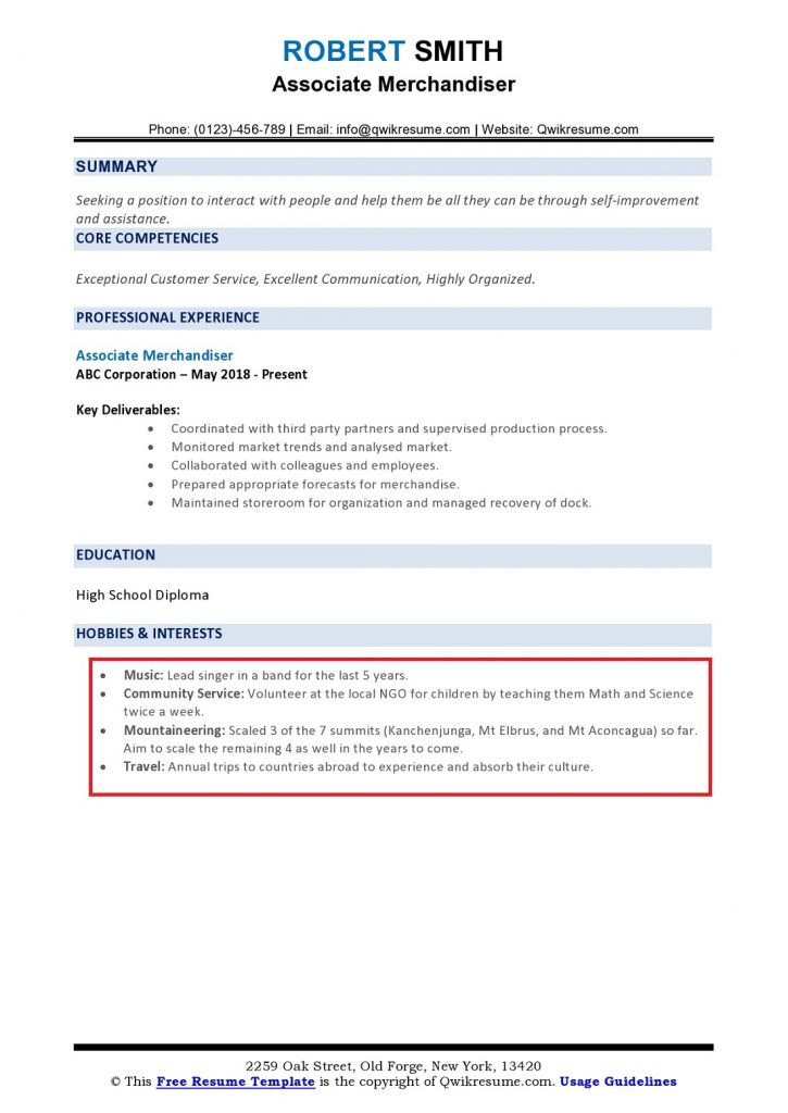 hobbies and interests on resume to examples page0001 725x1024 templates canva best Resume Resume Hobbies Examples