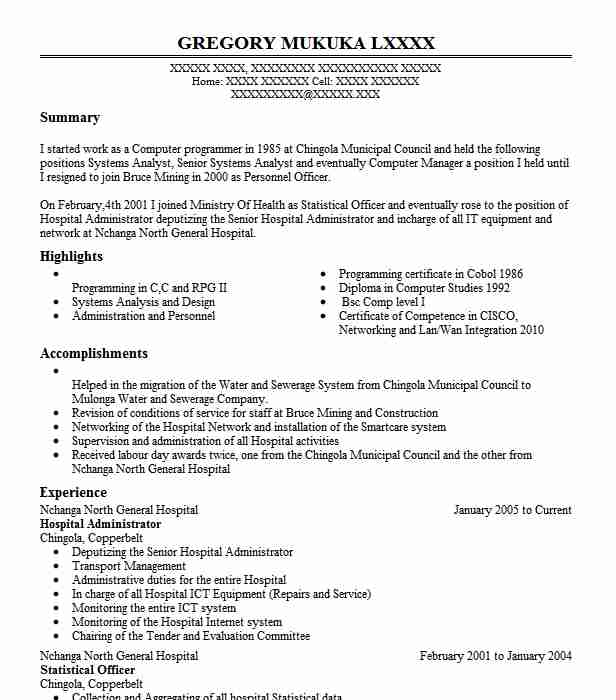 hospital administrator examples resumes livecareer resume for overseas employment Resume Hospital Administrator Resume