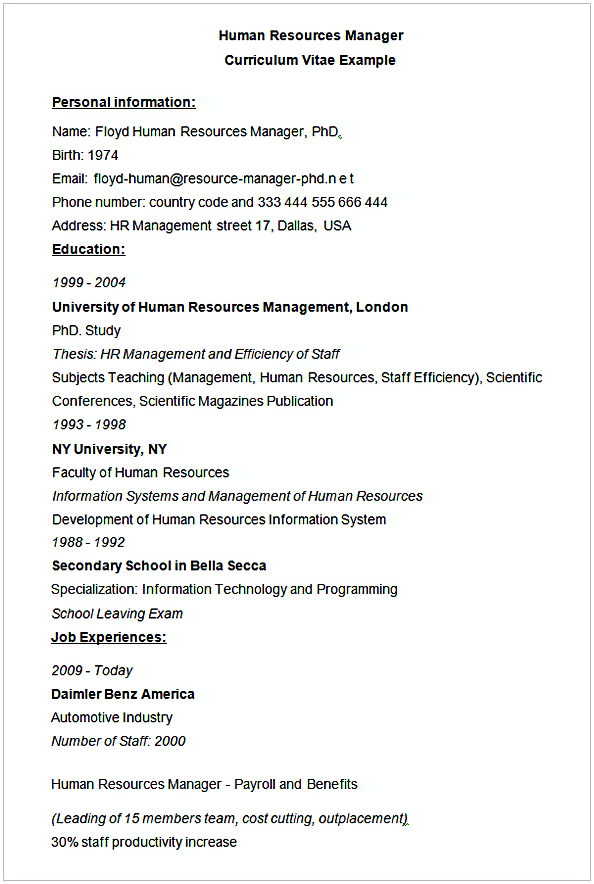 hr manager resume sample human resources cv example shipyard objective attorney examples Resume Human Resources Manager Resume Sample