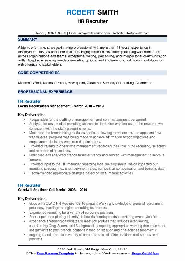 hr recruiter resume samples qwikresume college objective examples pdf excellent Resume College Recruiter Resume Objective Examples