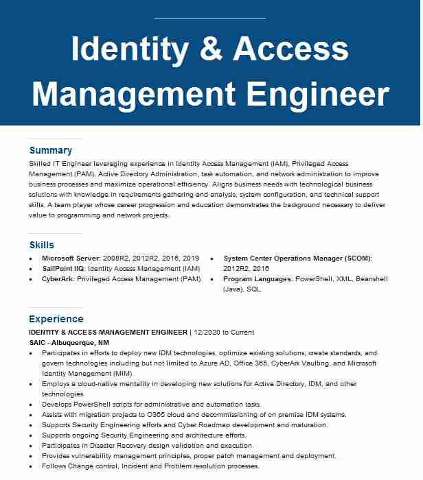 identity and access management engineer resume example idmworks llc plano oracle manager Resume Oracle Identity Manager Resume