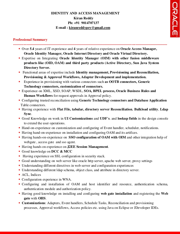 idm resume kiran oracle identity manager thumbnail format for service steward Resume Oracle Identity Manager Resume