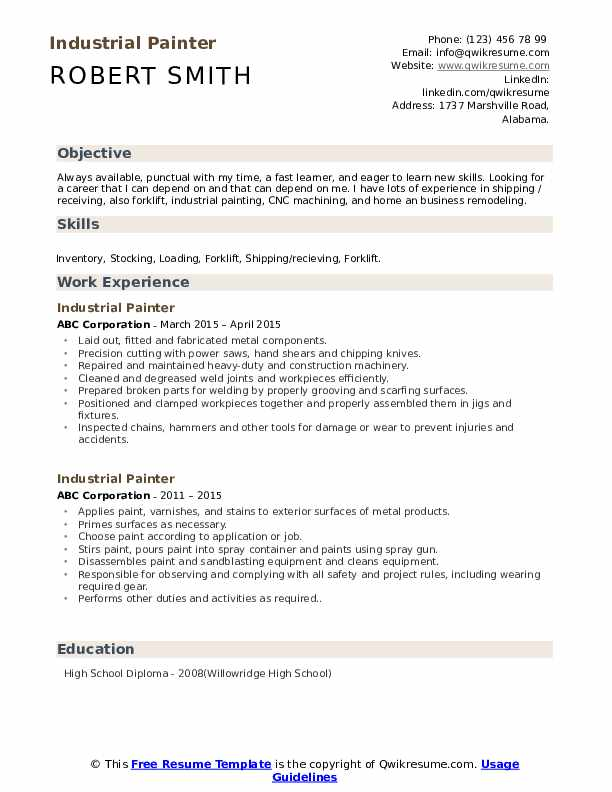 industrial painter resume samples qwikresume format pdf simple for students collaborate Resume Industrial Resume Format