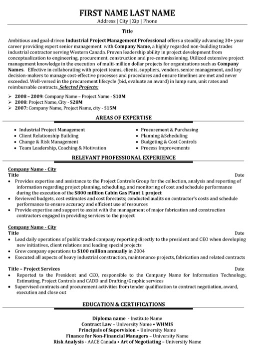 industrial project manager resume sample template examples student ministry employment Resume Project Manager Resume Examples