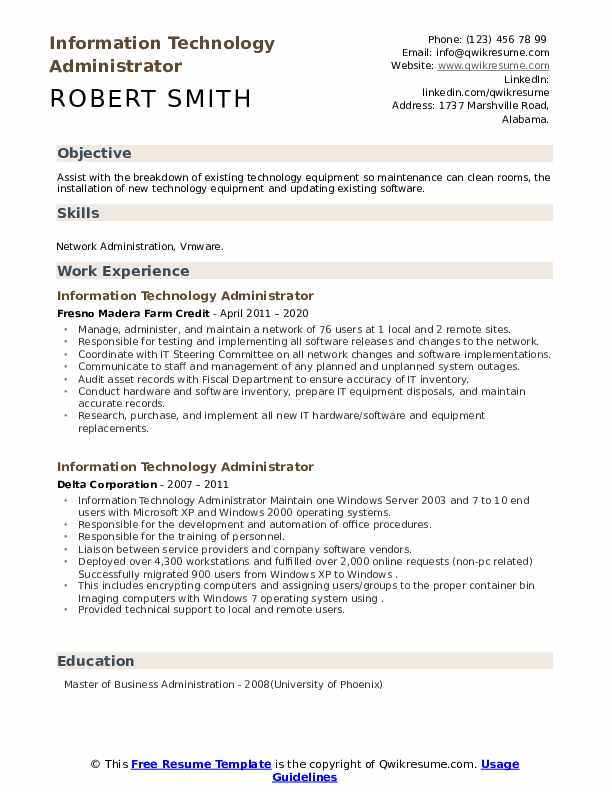 information technology administrator resume samples qwikresume master of business Resume Master Of Business Administration On Resume