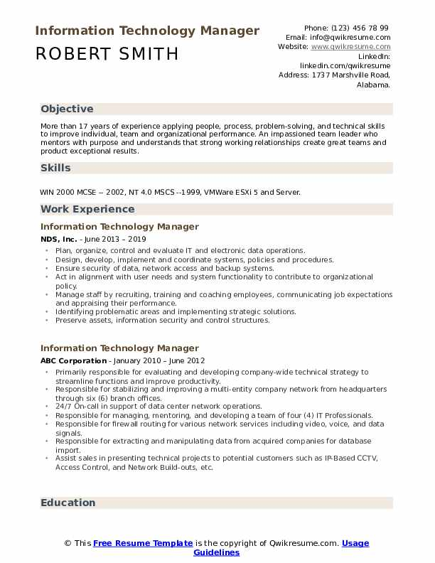 information technology manager resume samples qwikresume examples pdf design modern Resume Information Technology Resume Examples