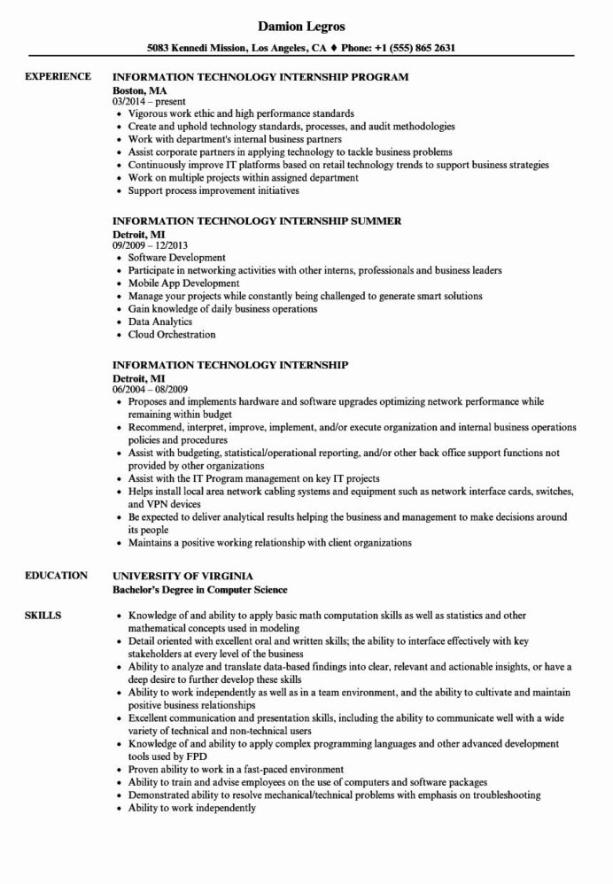 information technology resume template fresh internship samples in objective examples Resume Information Technology Resume Examples