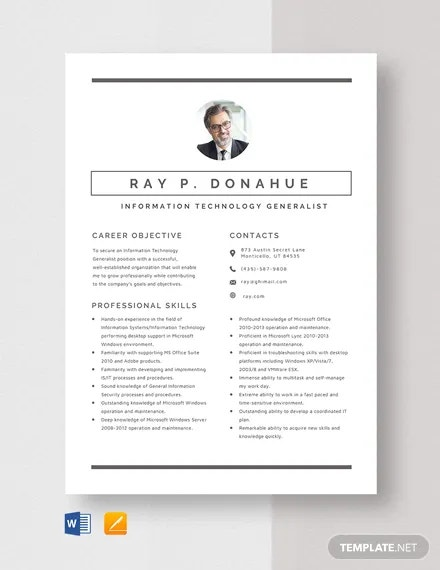 information technology resume templates pdf free premium examples generalist template Resume Information Technology Resume Examples
