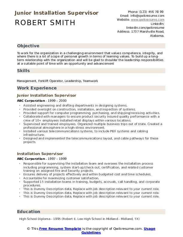 installation supervisor resume samples qwikresume personal values for pdf child care Resume Personal Values For Resume