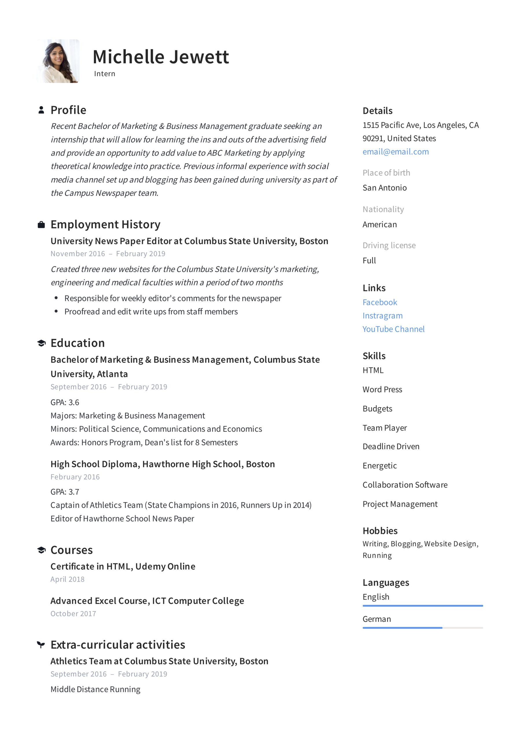intern resume writing guide samples pdf summary examples for internship example career Resume Resume Summary Examples For Internship