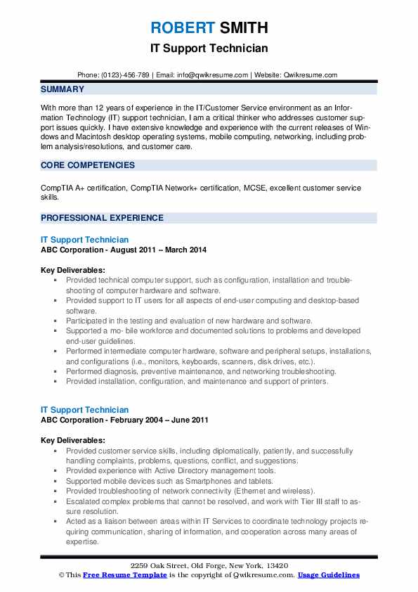 it support technician resume samples qwikresume troubleshooting skills pdf business Resume Troubleshooting Skills Resume