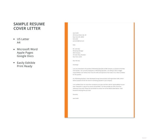 job cover letter template free word pdf documents premium templates employment resume Resume Employment Resume Cover Letter