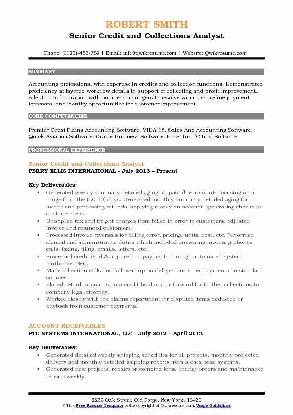 job description resume new credit collections analyst samples examples sample for graphic Resume Sample Resume For A Porter
