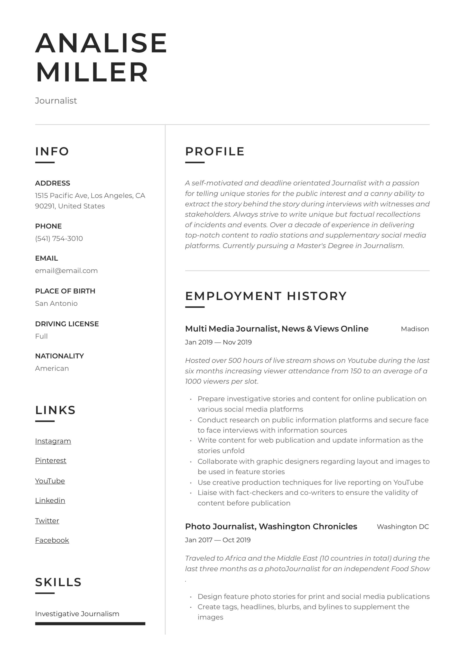 journalist resume writing guide templates samples financial operations manager for Resume Journalist Resume Samples