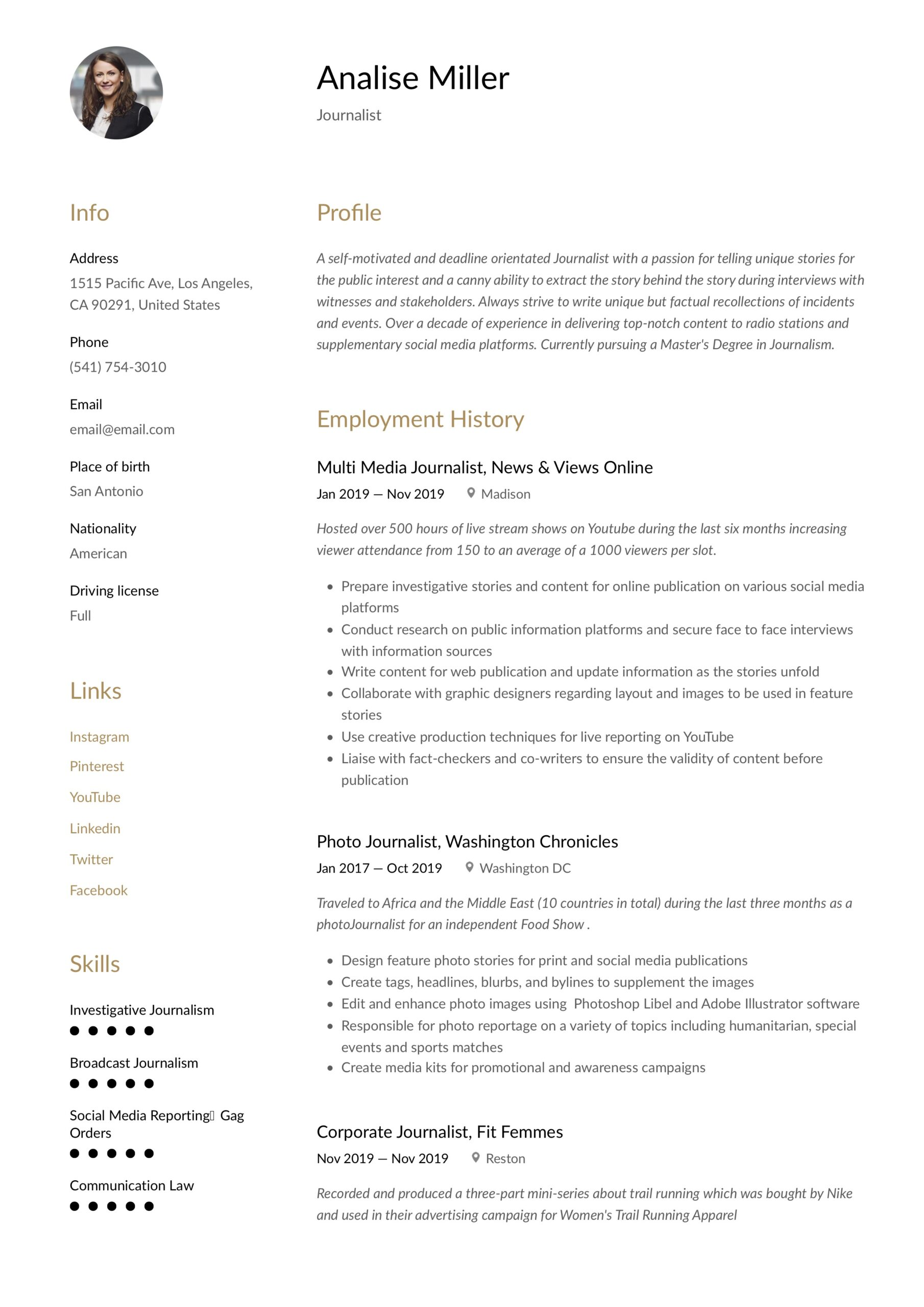 journalist resume writing guide templates samples plant operator objective financial Resume Journalist Resume Samples