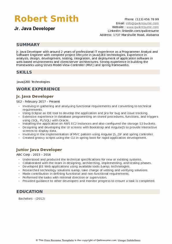 junior developer resume samples qwikresume projects for pdf faq help customer service Resume Java Projects For Resume