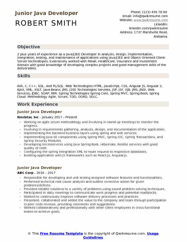 junior developer resume samples qwikresume projects for pdf templates experienced Resume Java Projects For Resume