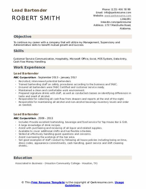 lead bartender resume samples qwikresume free templates pdf matching monster hire service Resume Free Bartender Resume Templates