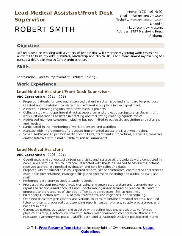 lead medical assistant resume samples qwikresume objectives pdf example of an activities Resume Medical Assistant Resume Objectives Samples