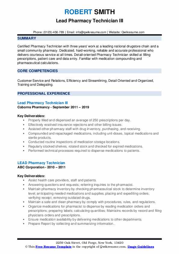 lead pharmacy technician resume samples qwikresume template free pdf intrests for audio Resume Pharmacy Technician Resume Template Free