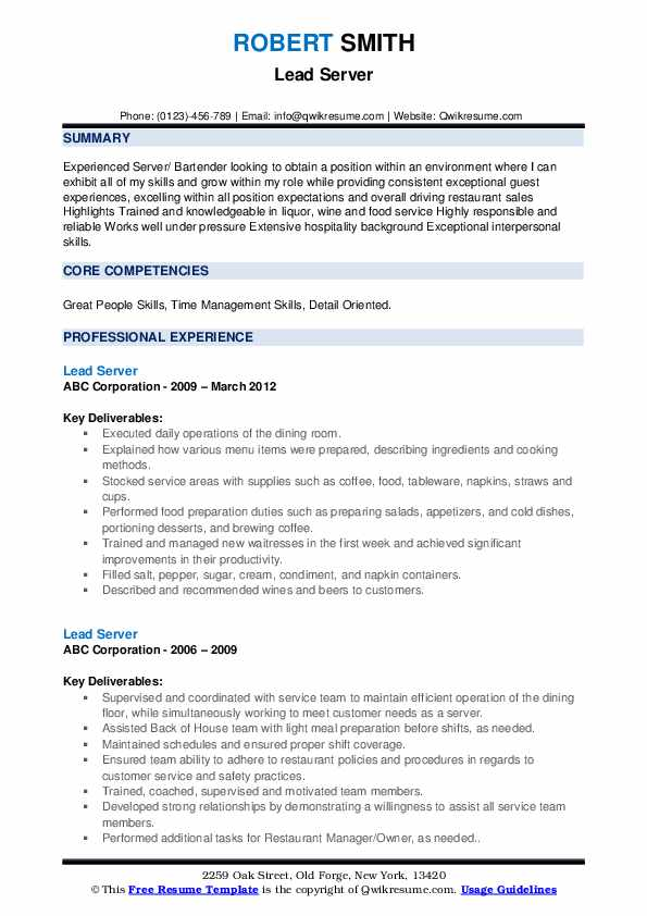 lead server resume samples qwikresume duties and responsibilities pdf area manager tow Resume Server Duties And Responsibilities Resume