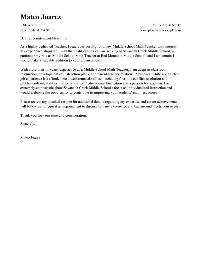 leading professional teacher cover letter examples resources myperfectresume resume and Resume Resume And Cover Letter For Teaching Position