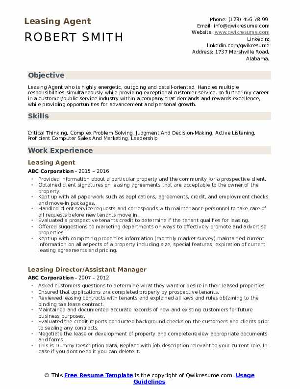 leasing agent resume samples qwikresume sample pdf set up example contact icons for Resume Leasing Agent Resume Sample