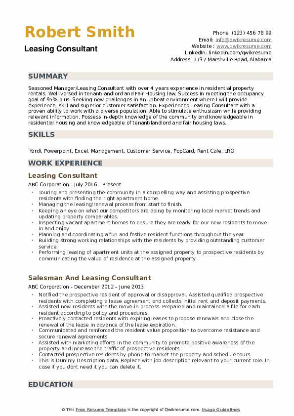 leasing consultant resume samples qwikresume agent sample pdf retail manager examples Resume Leasing Agent Resume Sample