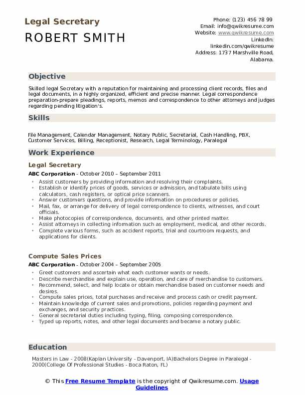 legal secretary resume samples qwikresume duties pdf high school summary examples Resume Secretary Duties Resume