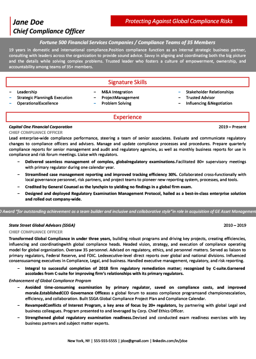 level resume chief compliance officer cco icareersolutions template page1 college job for Resume Compliance Officer Resume Template