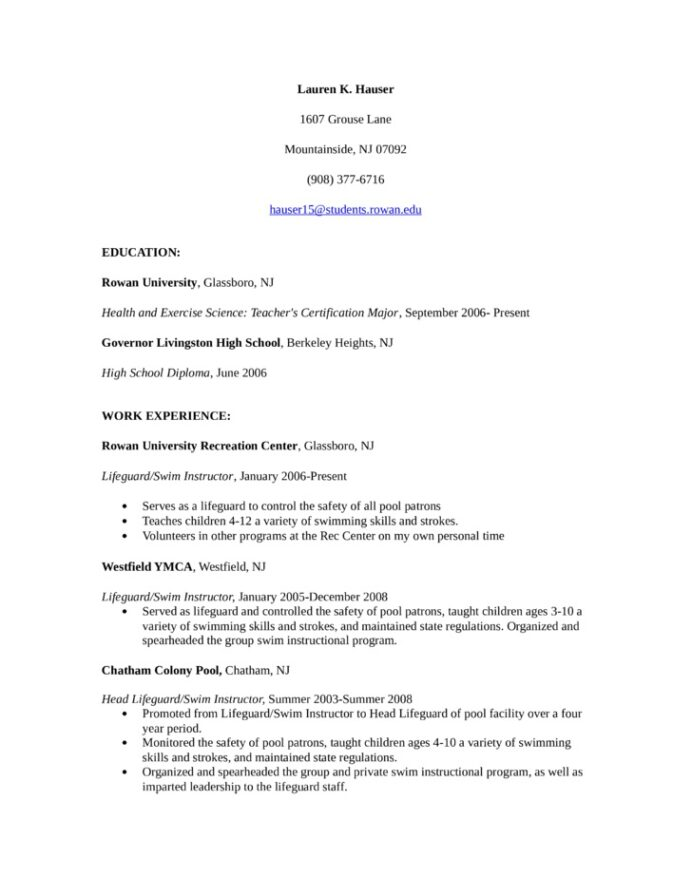 lifeguard resume samples ipasphoto examples swim instructor baseball for college creative Resume Lifeguard Skills For Resume