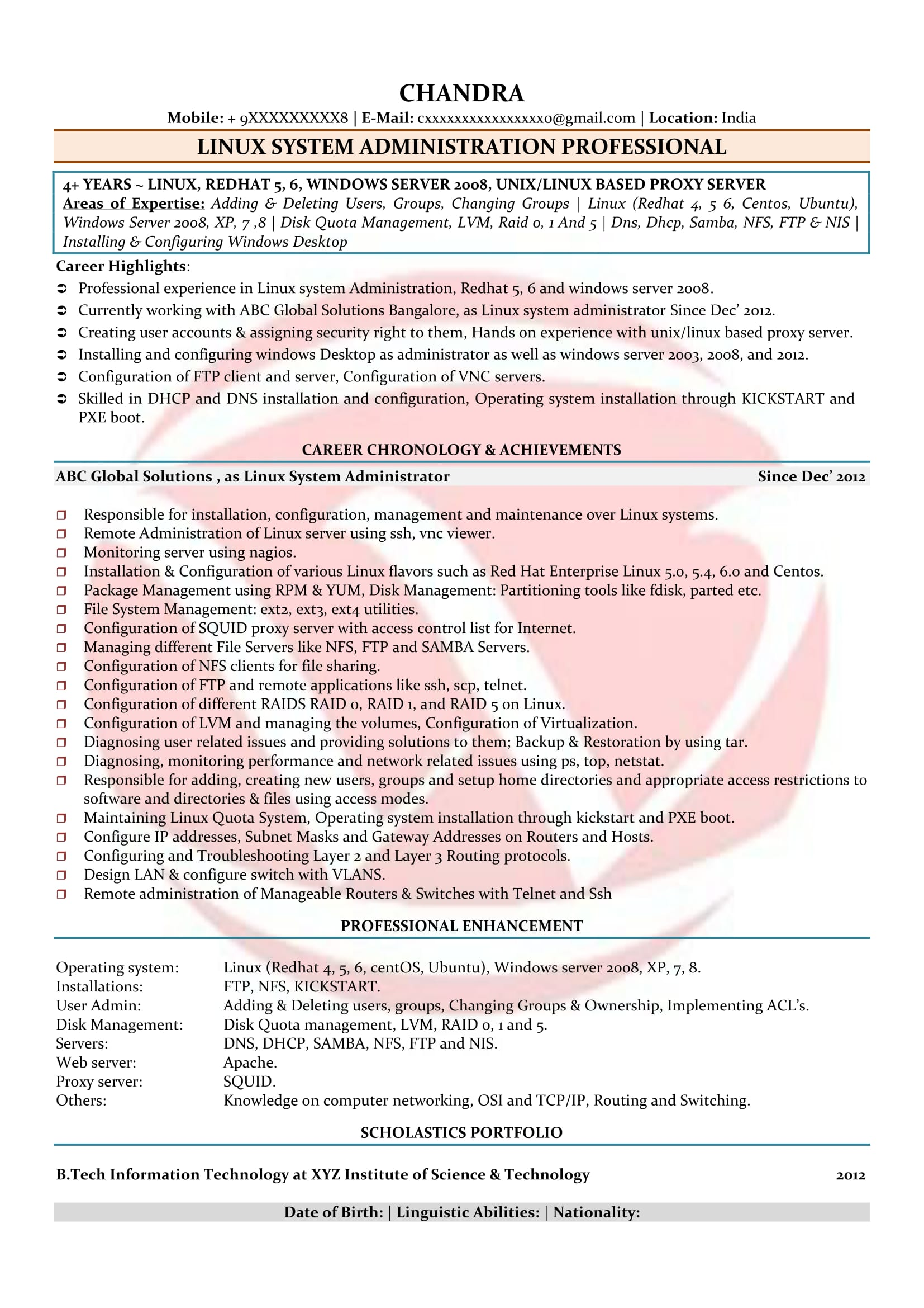 linux admin sample resumes resume format templates administrator summary examples for Resume Linux Administrator Resume