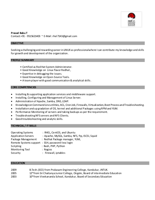 linux fresher resume administrator pblv general objective for cake decorator cover career Resume Linux Administrator Resume