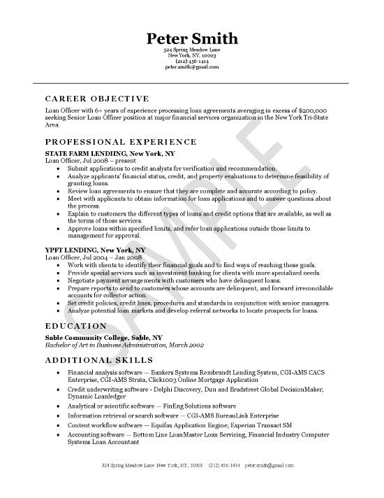 loan officer resume examples professional samples job banking objective dental patient Resume Banking Resume Objective