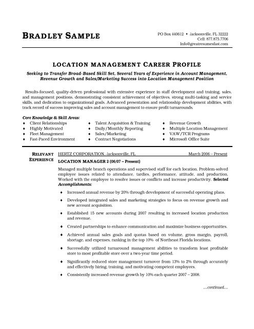 location manager resume pdf version workbloom broad experience automotive objective Resume Broad Experience Resume
