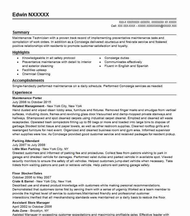 maintenance resume example resumes livecareer sample for school bus driver objective Resume Sample Resume For A Porter