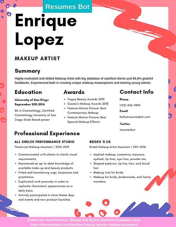 makeup artist resume samples and tips pdf templates resumes bot cosmetologist just out of Resume Cosmetologist Resume Samples Just Out Of School