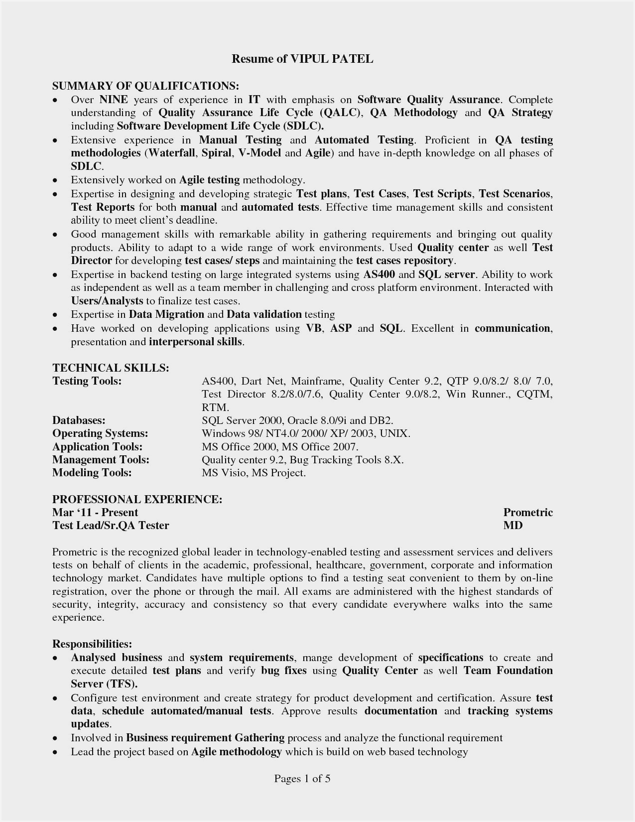 manual testing sample resume pdf qa tester with years experience entry level effective Resume Qa Tester Resume With 5 Years Experience