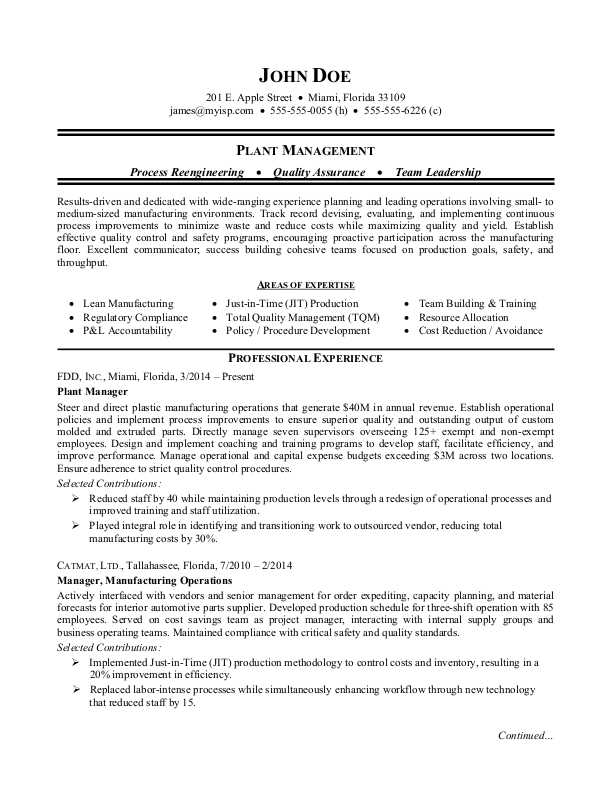 manufacturing plant manager resume sample monster production skills housekeeping college Resume Production Manager Resume