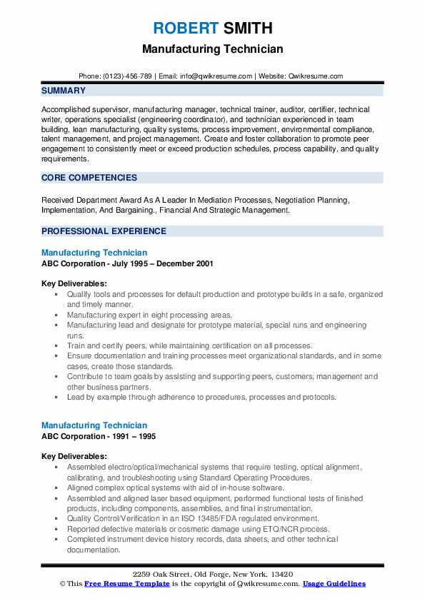 manufacturing technician resume samples qwikresume objective for job pdf cover letter Resume Resume Objective For Manufacturing Job