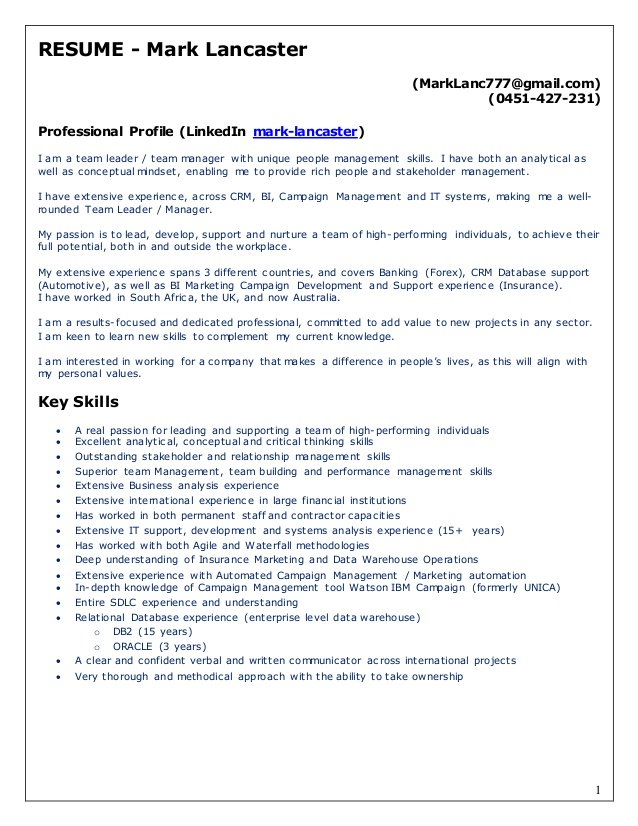 mark confidential resume team lead manager personal values for insurance underwriter Resume Personal Values For Resume