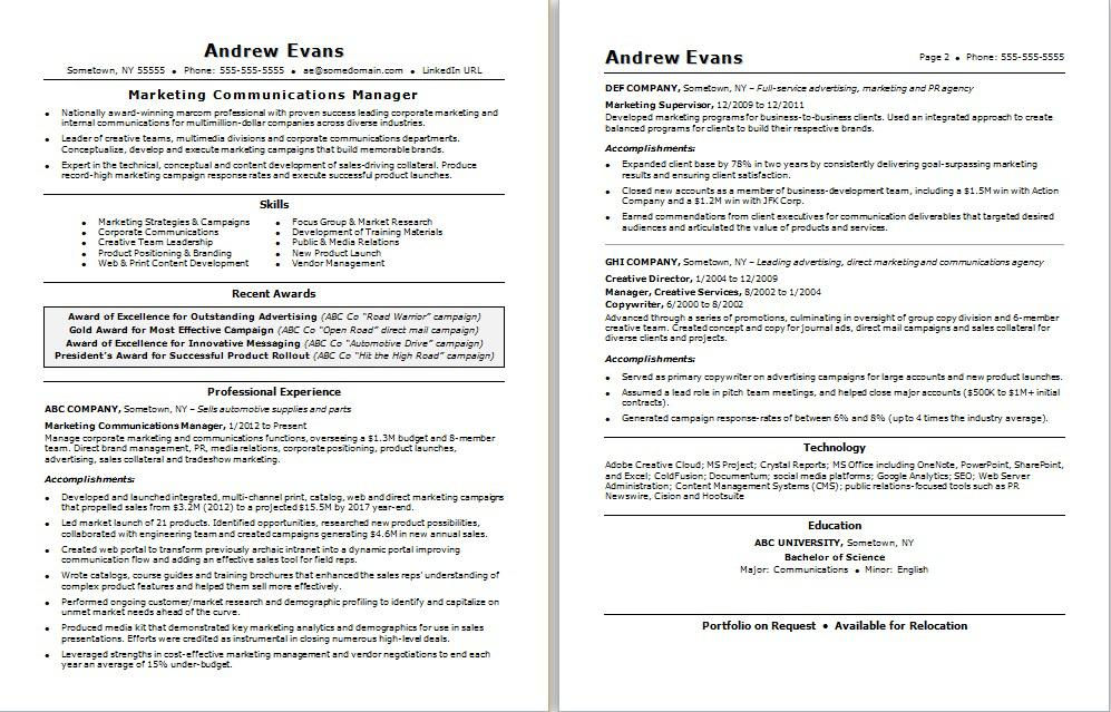 marketing communications resume monster numbers on example marcom manager photoshop Resume Page Numbers On Resume Example