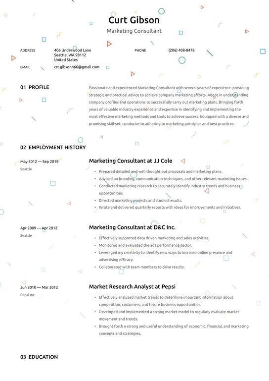 marketing consultant resume examples writing tips free guide paris lille server bartender Resume Marketing Consultant Resume