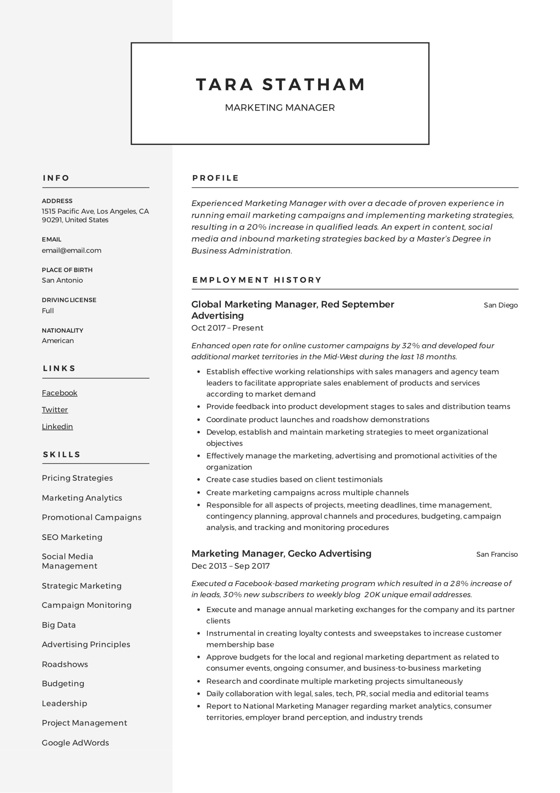 marketing manager resume writing guide templates description for tara statham excellent Resume Marketing Manager Description For Resume