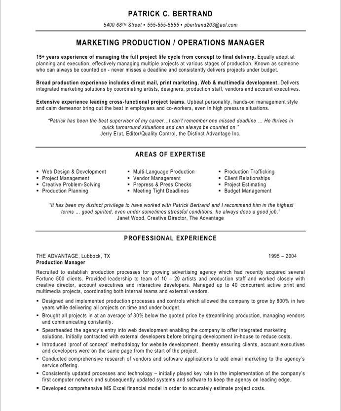 marketing production manager resume project college application objective statement Resume Production Manager Resume