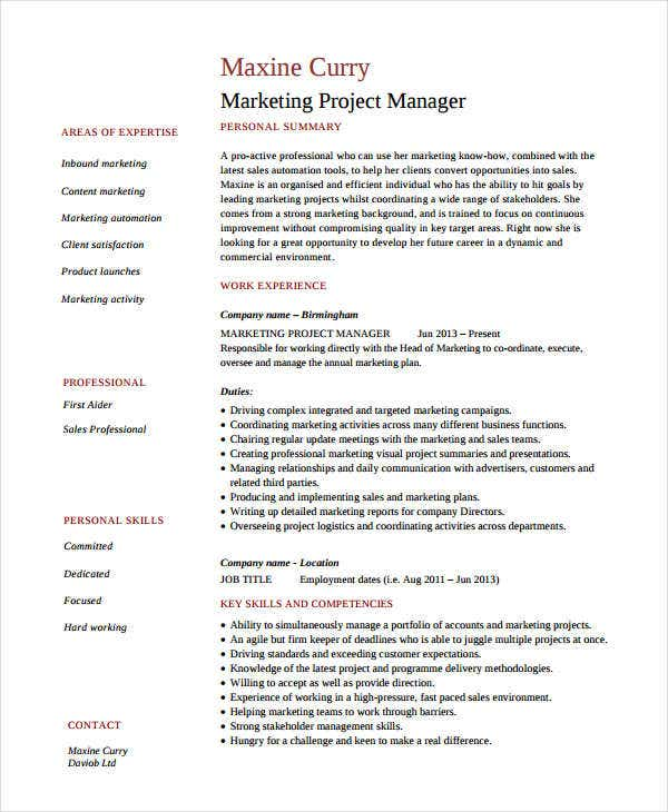 marketing resume examples free word pdf documents premium templates project manager Resume Marketing Resume Templates Free