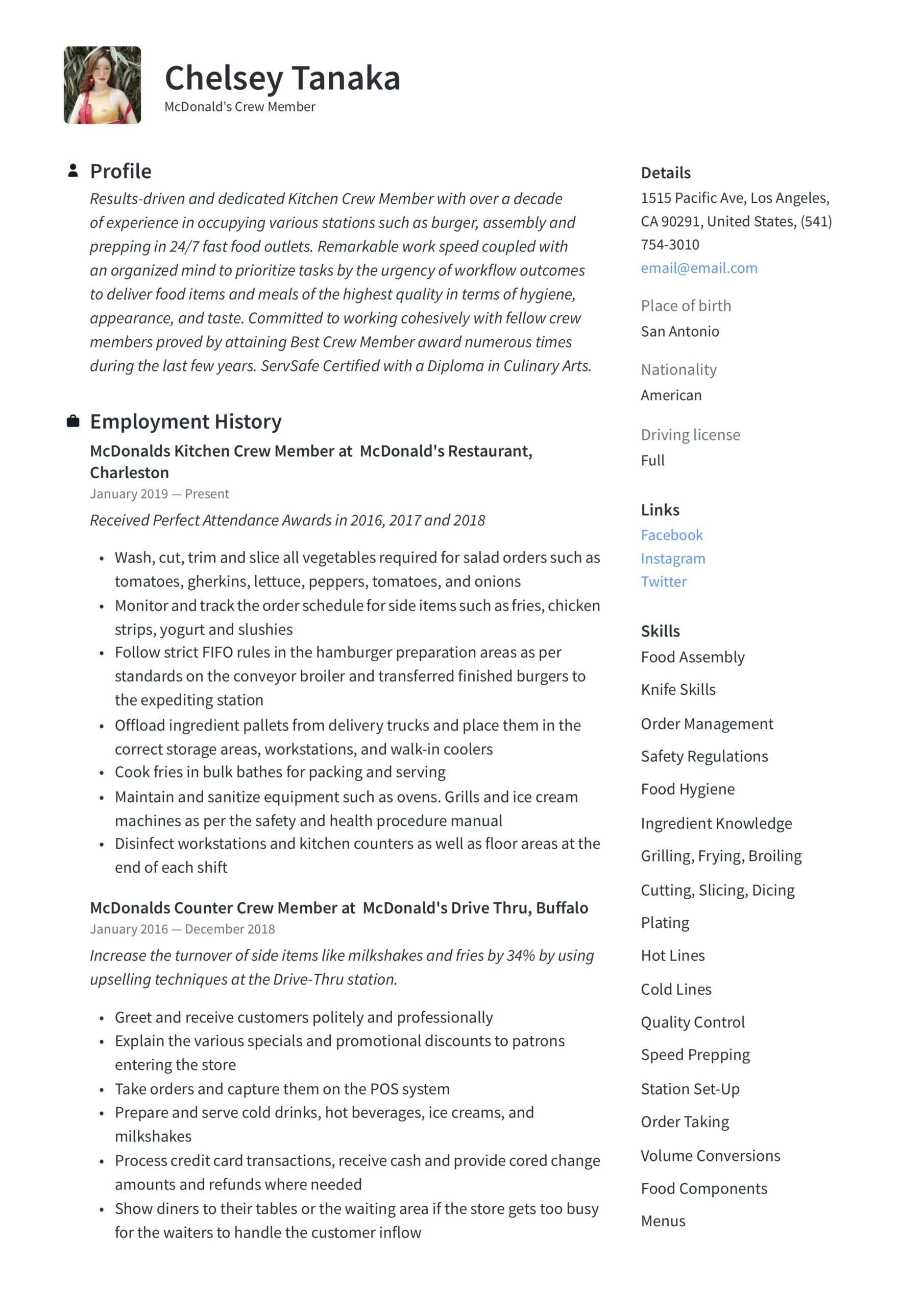 mcdonalds crew member resume writing guide examples job description for text format free Resume Mcdonalds Crew Member Job Description For Resume