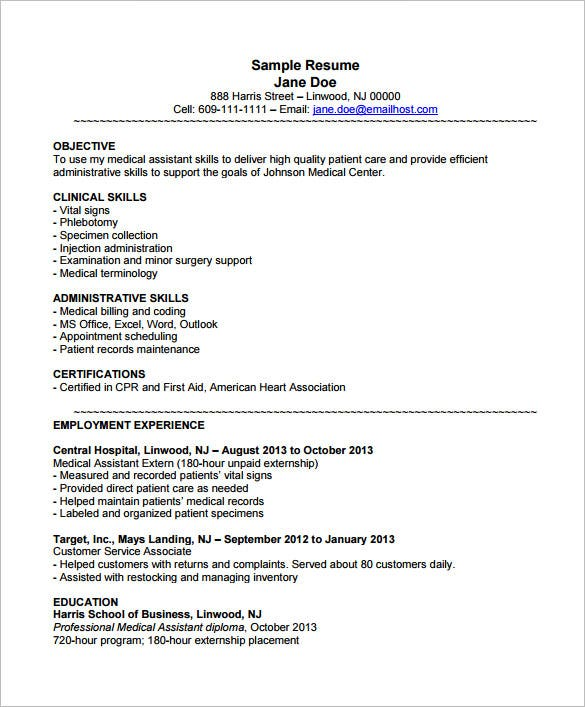 medical assistant resume templates pdf free premium objectives samples example with Resume Medical Assistant Resume Objectives Samples