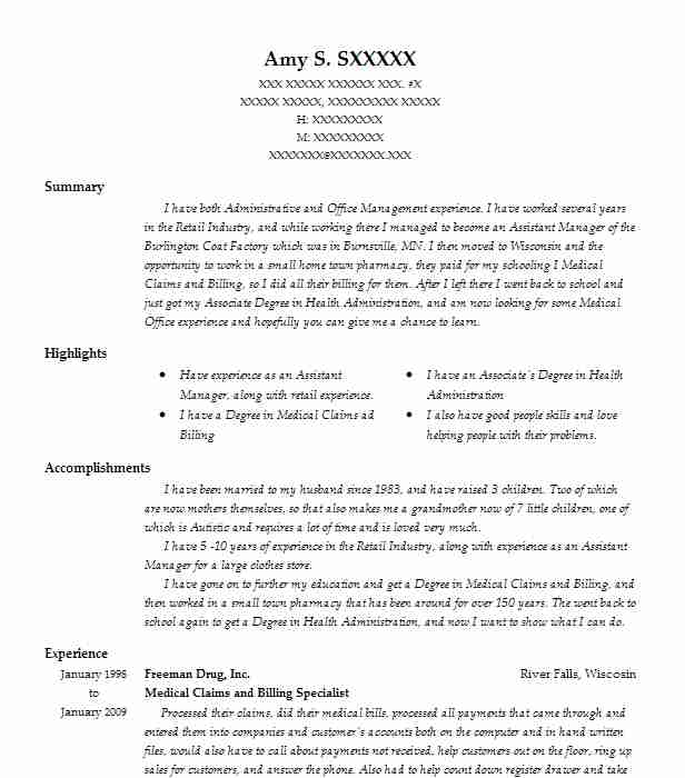 medical claims and billing specialist resume example livecareer entry level examples for Resume Medical Billing Specialist Resume