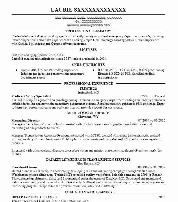 medical coding specialist resume example livecareer experience housekeeping manager tips Resume Medical Coding Experience Resume